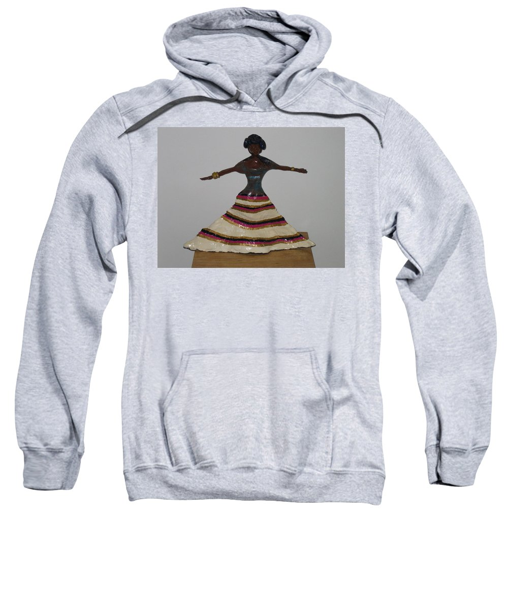 Jesus Sweatshirt featuring the sculpture Dancing Lady by Gloria Ssali