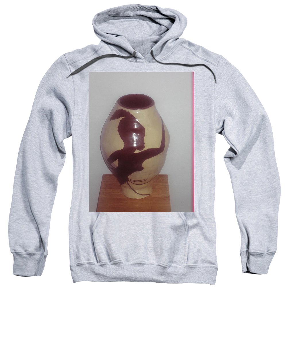 Jesus Sweatshirt featuring the ceramic art Dancing Lady With Figures - View One by Gloria Ssali
