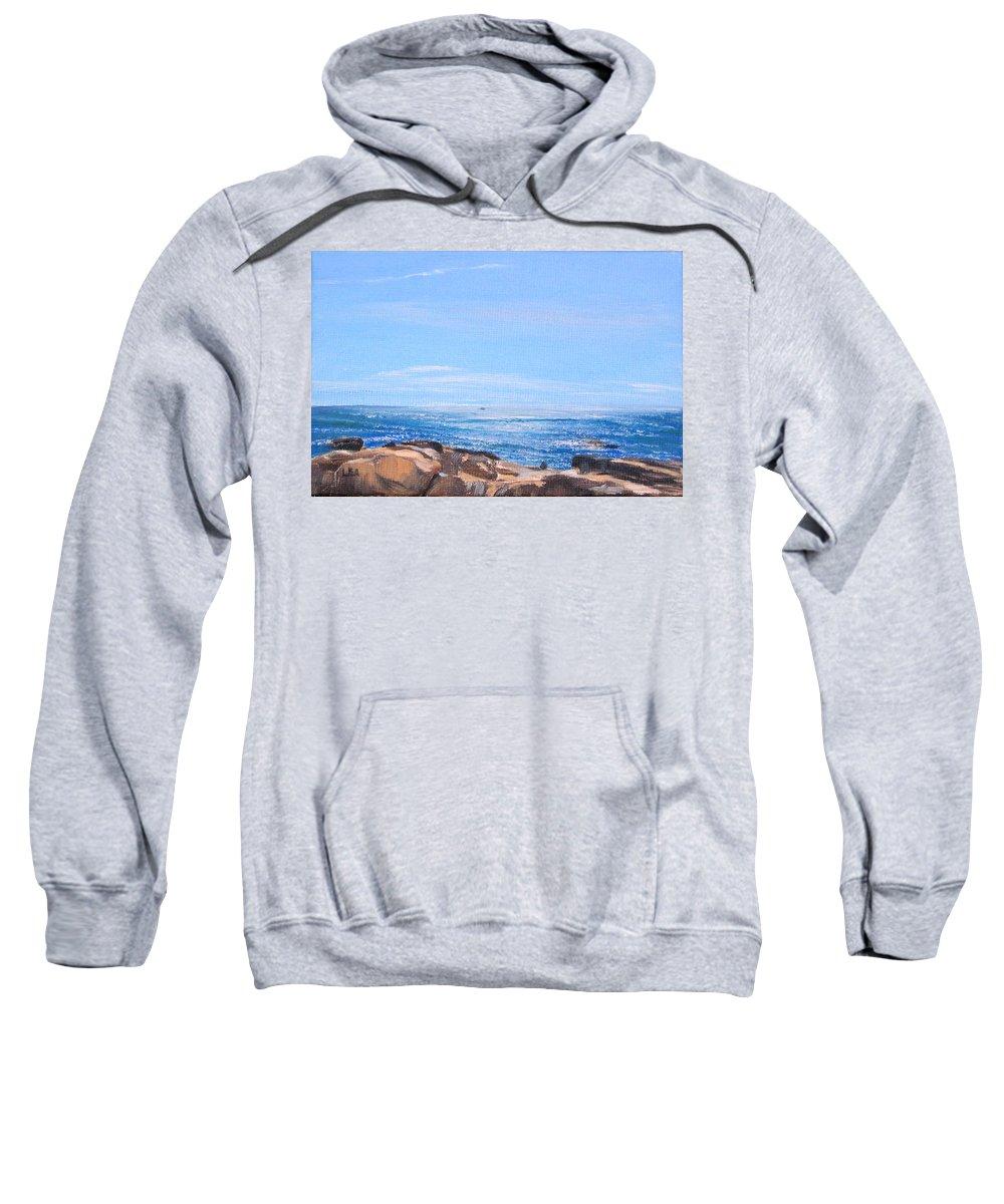 Seascape Sweatshirt featuring the painting Dancing Light by Lea Novak