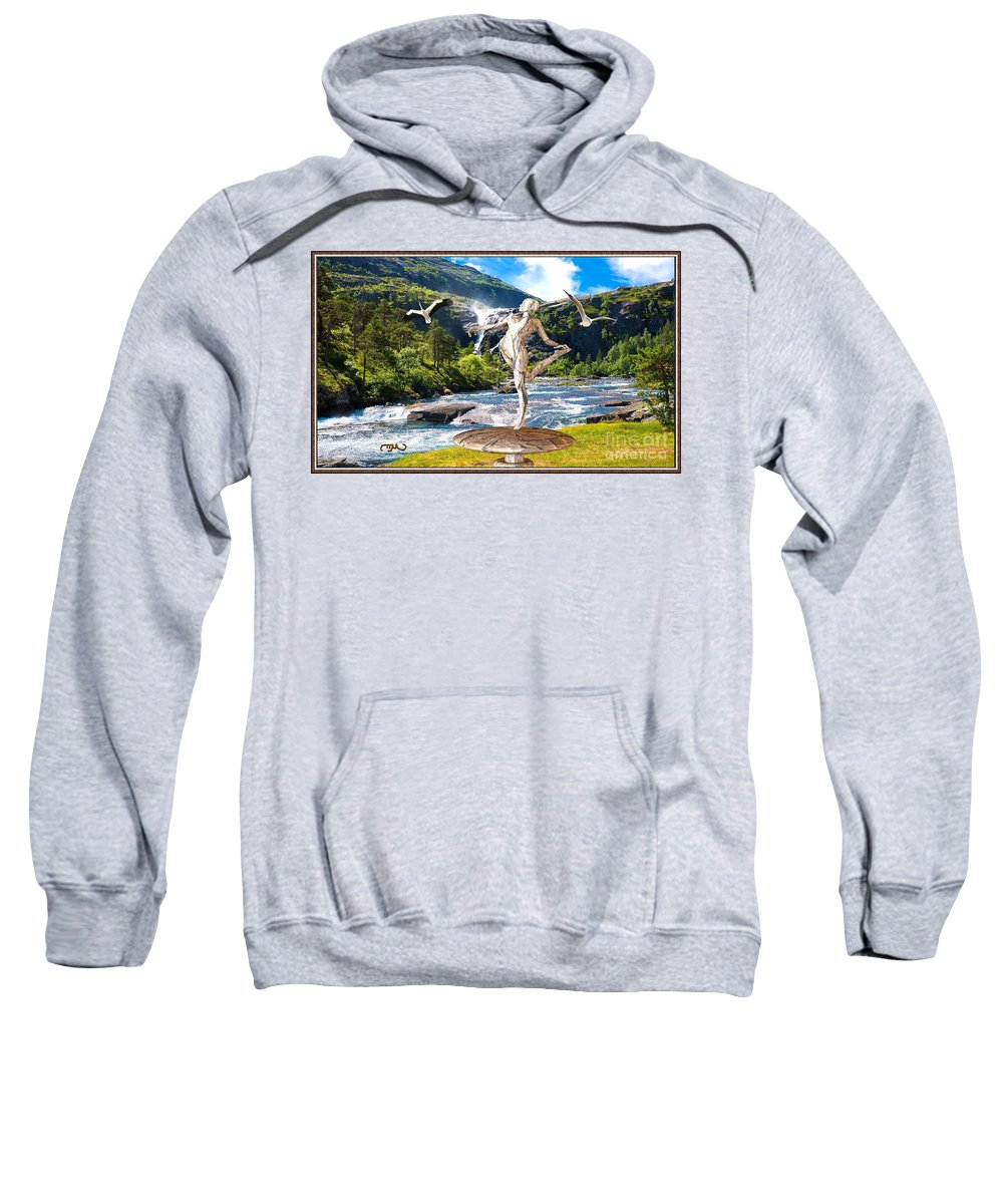 Modern Painting Sweatshirt featuring the mixed media Dancing Statue Near The Waterfall by Pemaro