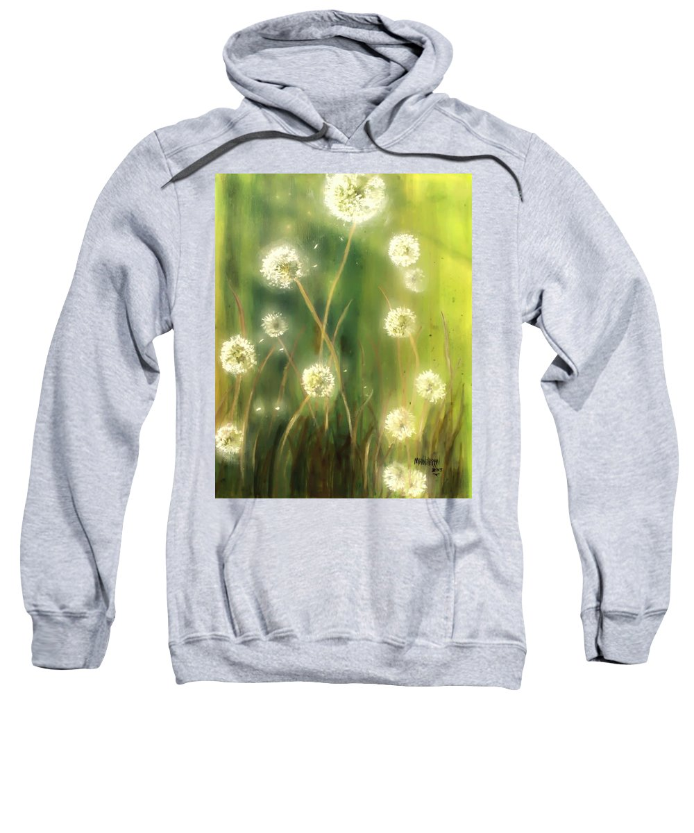Ablaze Sweatshirt featuring the painting Dandelions by Melissa Herrin