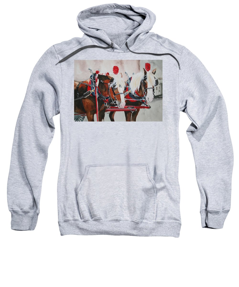 Horse Sweatshirt featuring the painting Dandy Duo by Jean Blackmer