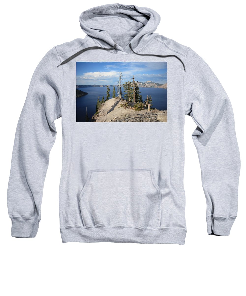 Crater Lake Sweatshirt featuring the photograph Dangerous Slope At Crater Lake by Carol Groenen