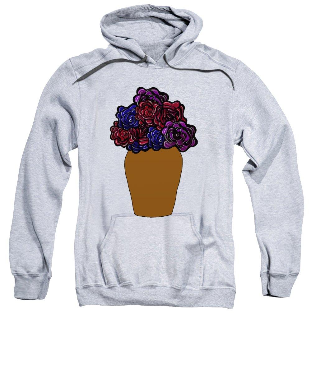 Dark Roses Sweatshirt featuring the painting Dark Rose Folk Art by Priscilla Wolfe