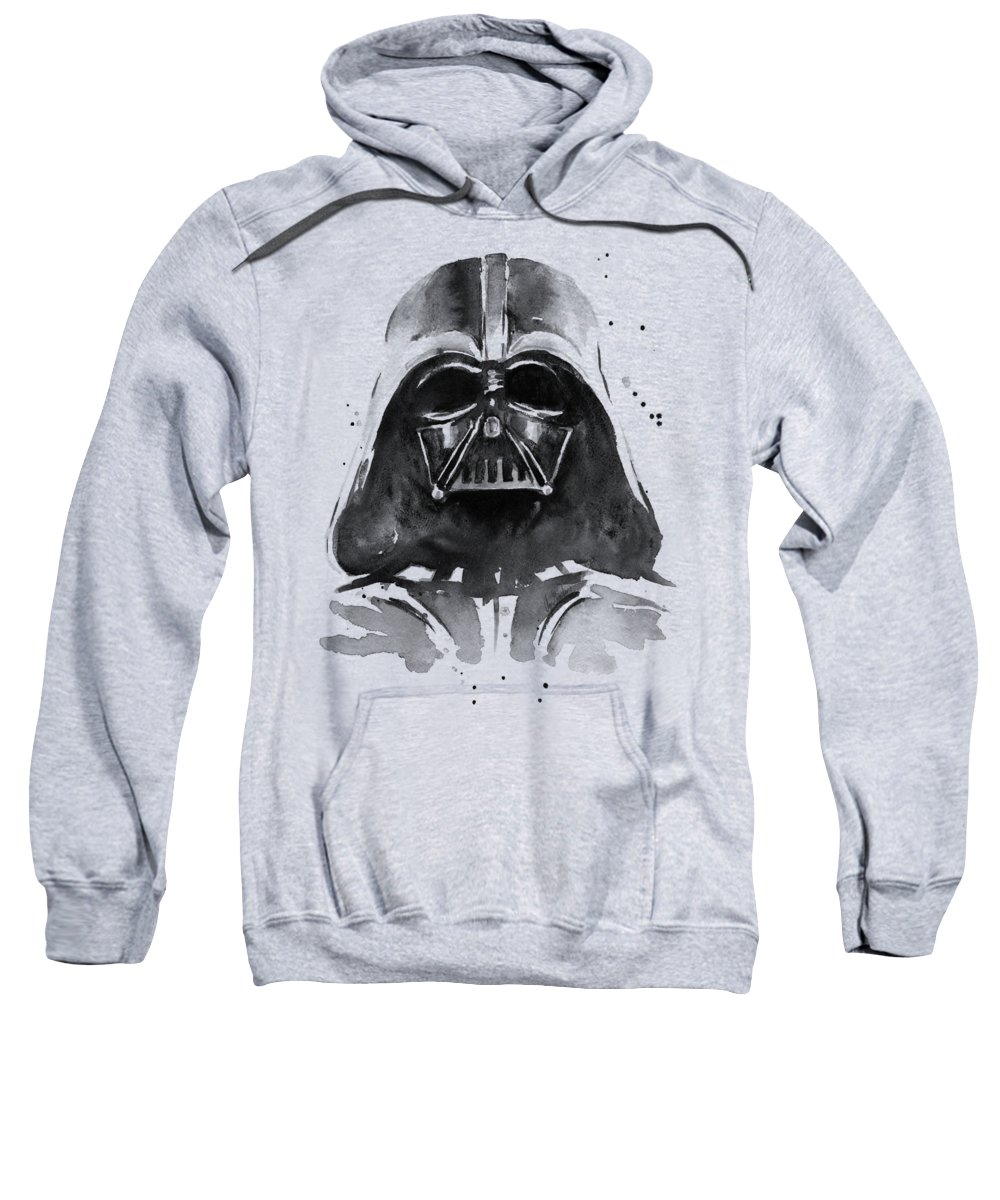 Watercolor Sweatshirt featuring the painting Darth Vader Watercolor by Olga Shvartsur