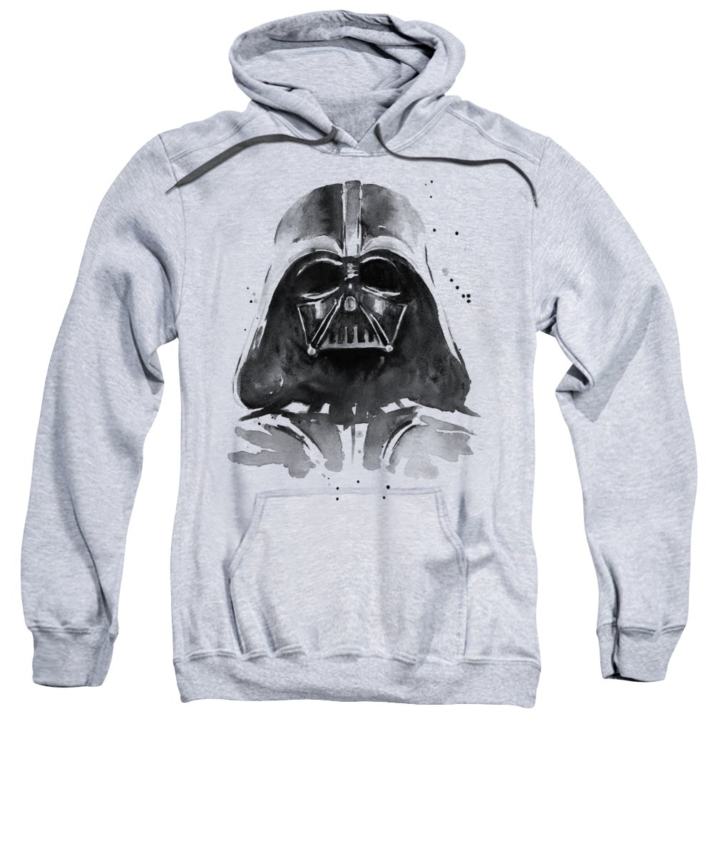 Watercolor Sweatshirt featuring the painting Darth Vader Watercolor by Olga Shvartsur