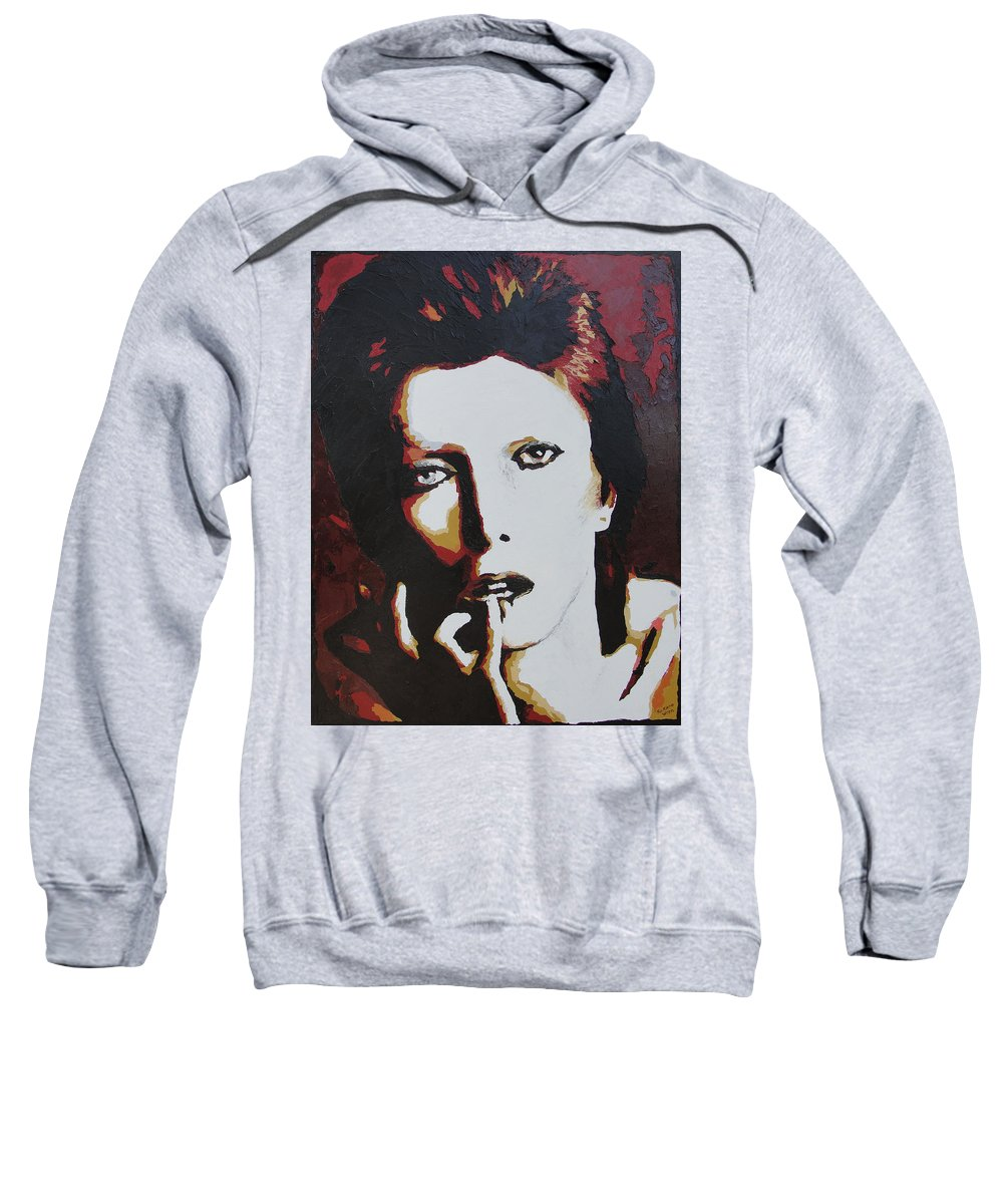 David Bowie Sweatshirt featuring the painting David Bowie by Ricklene Wren