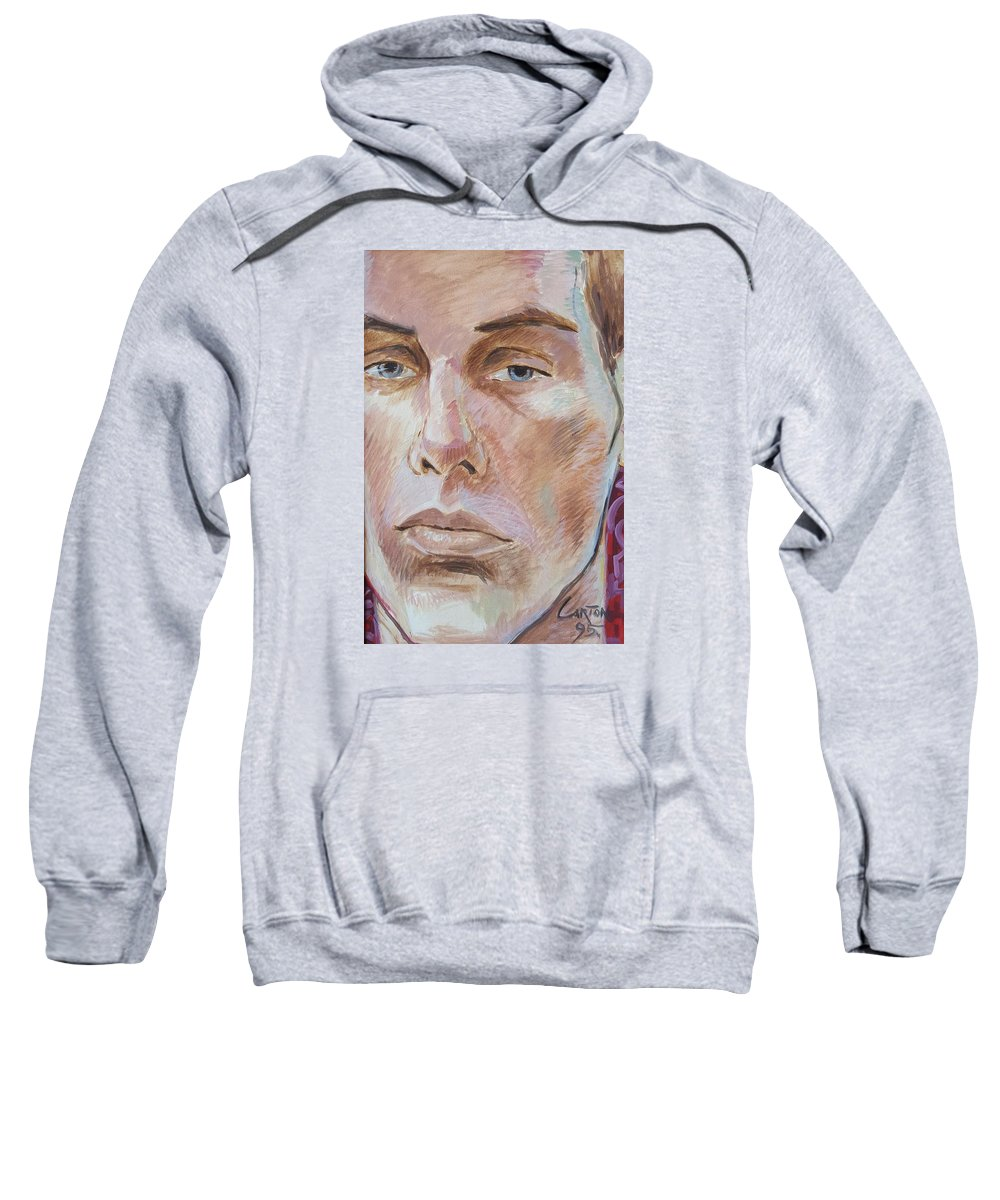 Portrait Of Morose Young Man Sweatshirt featuring the painting David by Jerrold Carton