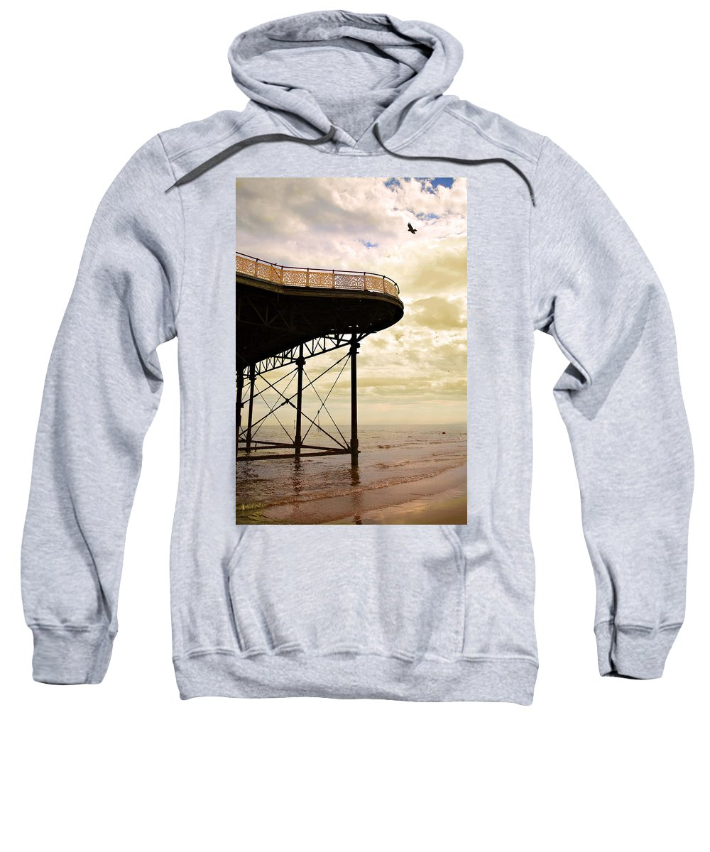 Victoria Sweatshirt featuring the photograph Dawn At Colwyn Bay Victoria Pier Conwy North Wales Uk by Mal Bray