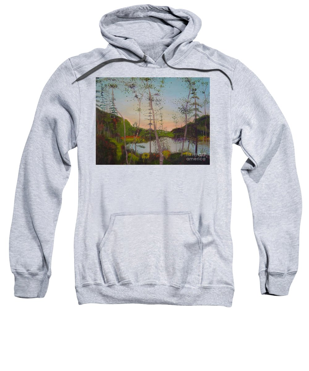 Landscape Sweatshirt featuring the painting Dawn By The Pond by Lilibeth Andre