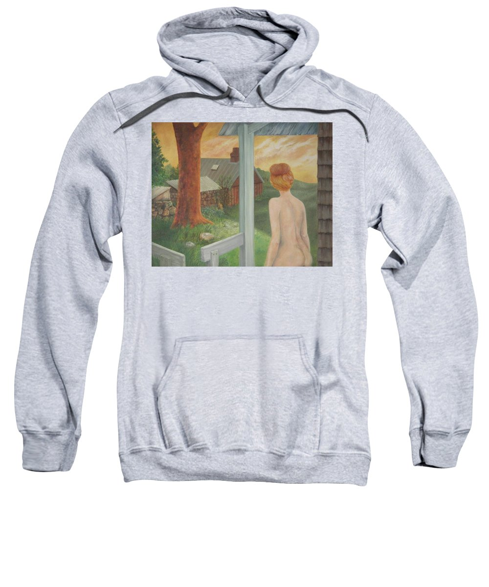 Nude Sweatshirt featuring the painting Dawn by Marian Fox