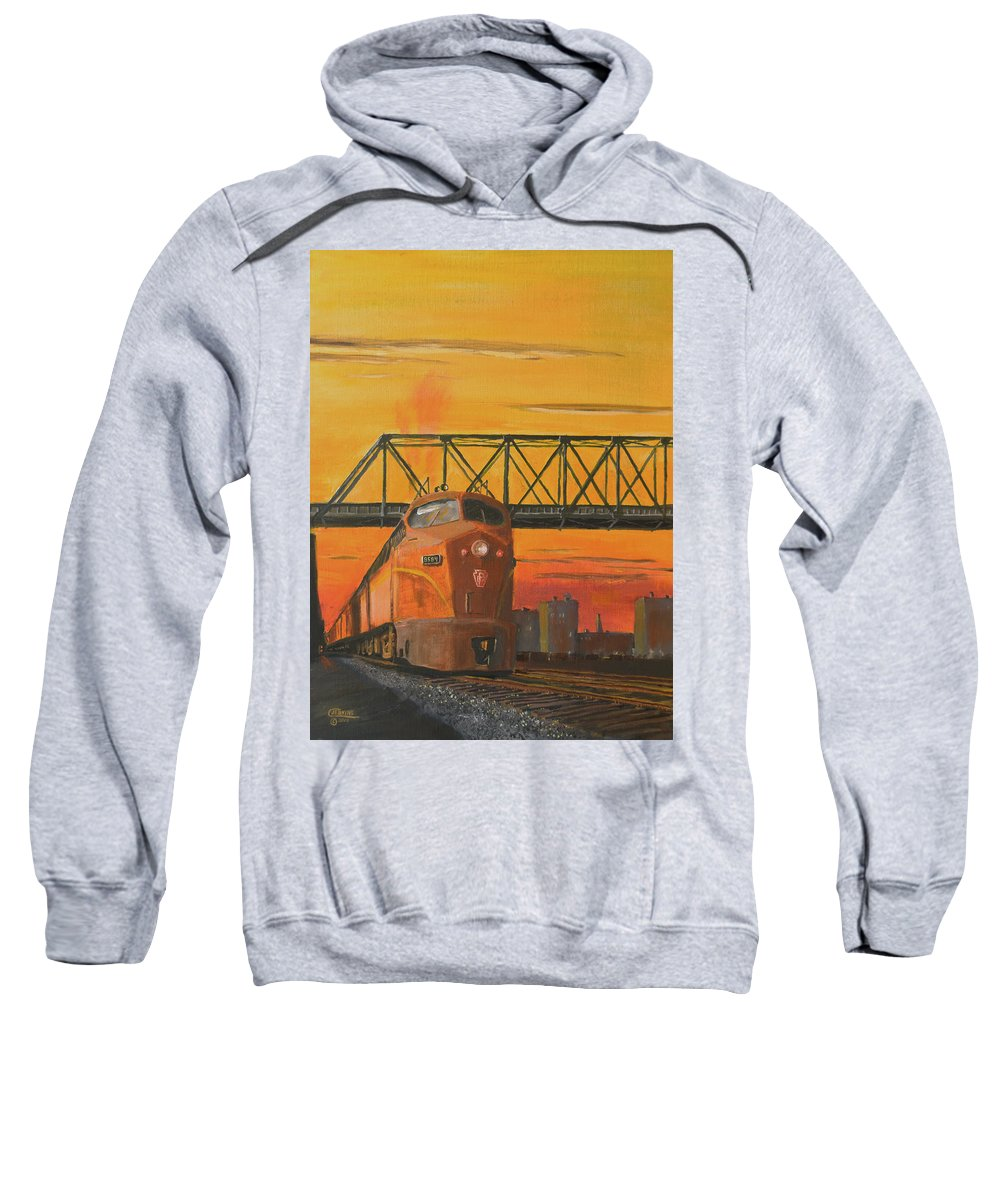 Train Sweatshirt featuring the painting Dawn Patrol by Christopher Jenkins