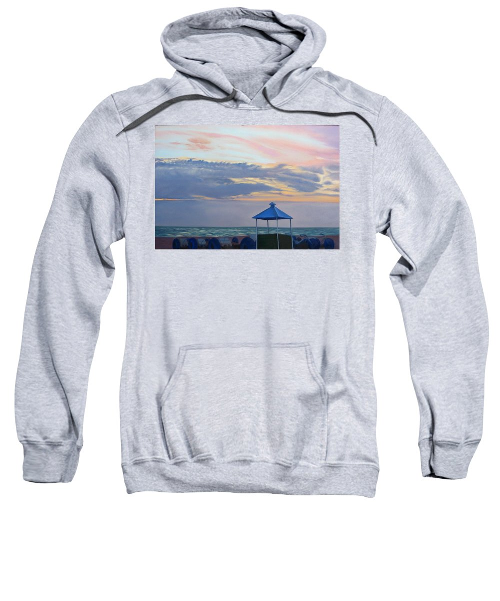 Sunset Sweatshirt featuring the painting Day Is Done by Lea Novak