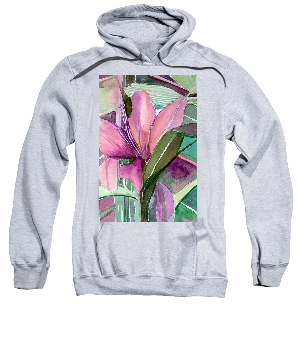 Flower Sweatshirt featuring the painting Day Lily Pink by Mindy Newman