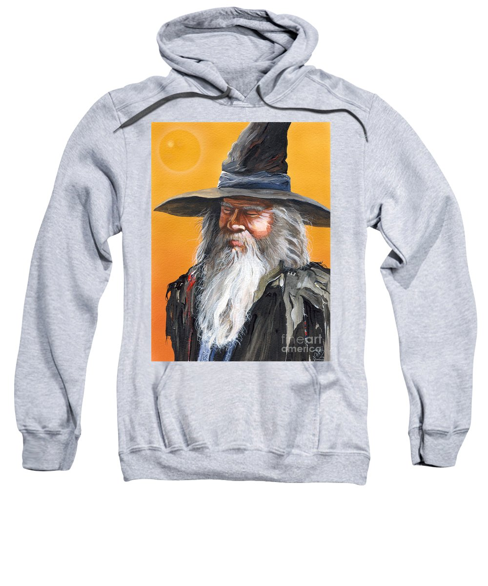 Fantasy Art Sweatshirt featuring the painting Daydream Wizard by J W Baker
