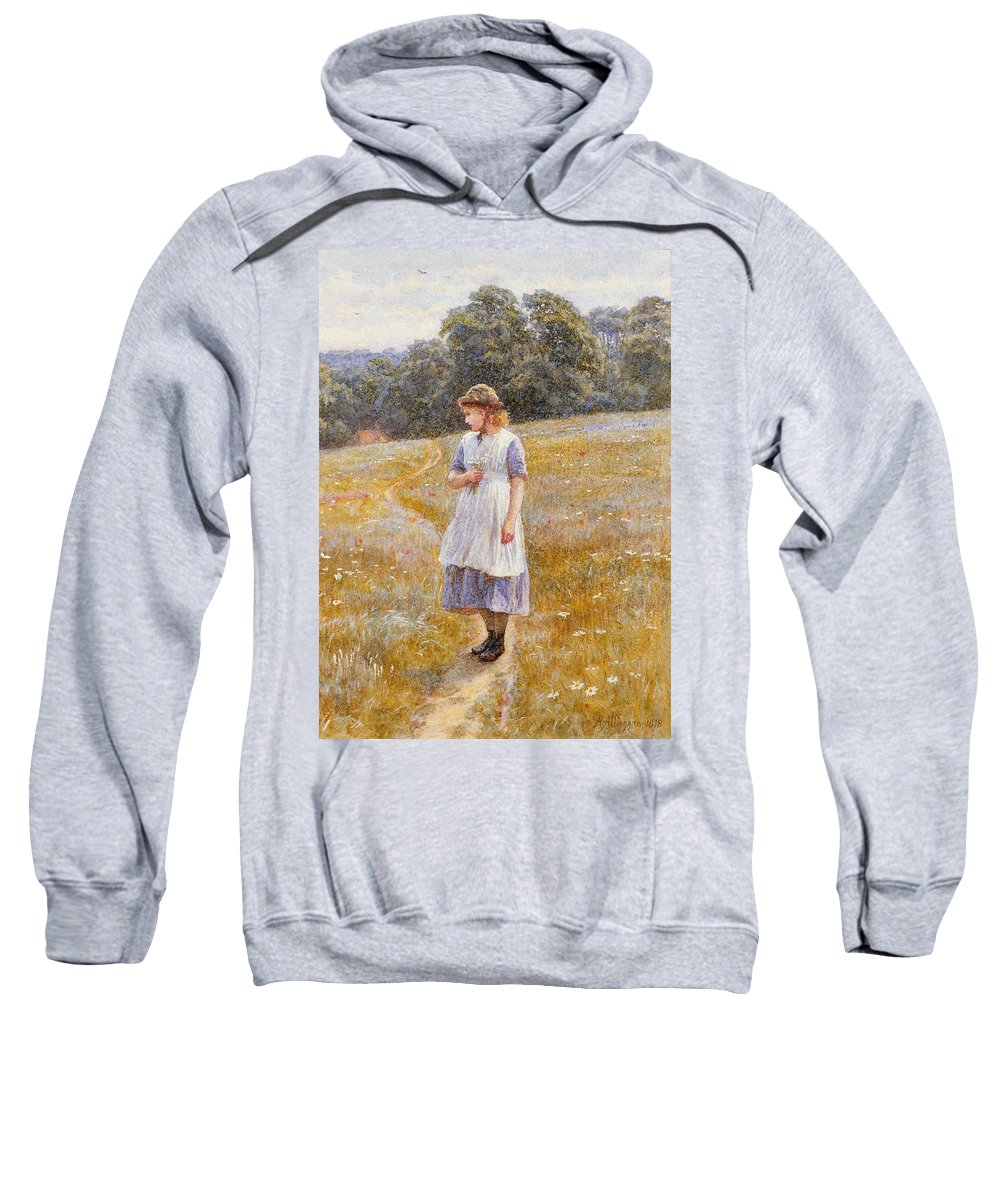 Daydreaming; Daydream; Female; Young; Girl; Full Length; Landscape; Rural; Country; Countryside; Field; Cottage; House; Path; Blue; Dress; Flowers; Daisies; Meadow; Sunny; Bouquet; Bunch; Posy; Picking; Walking; Sun; Hat; Youth; Idleness; Leisure Sweatshirt featuring the painting Daydreamer by Helen Allingham
