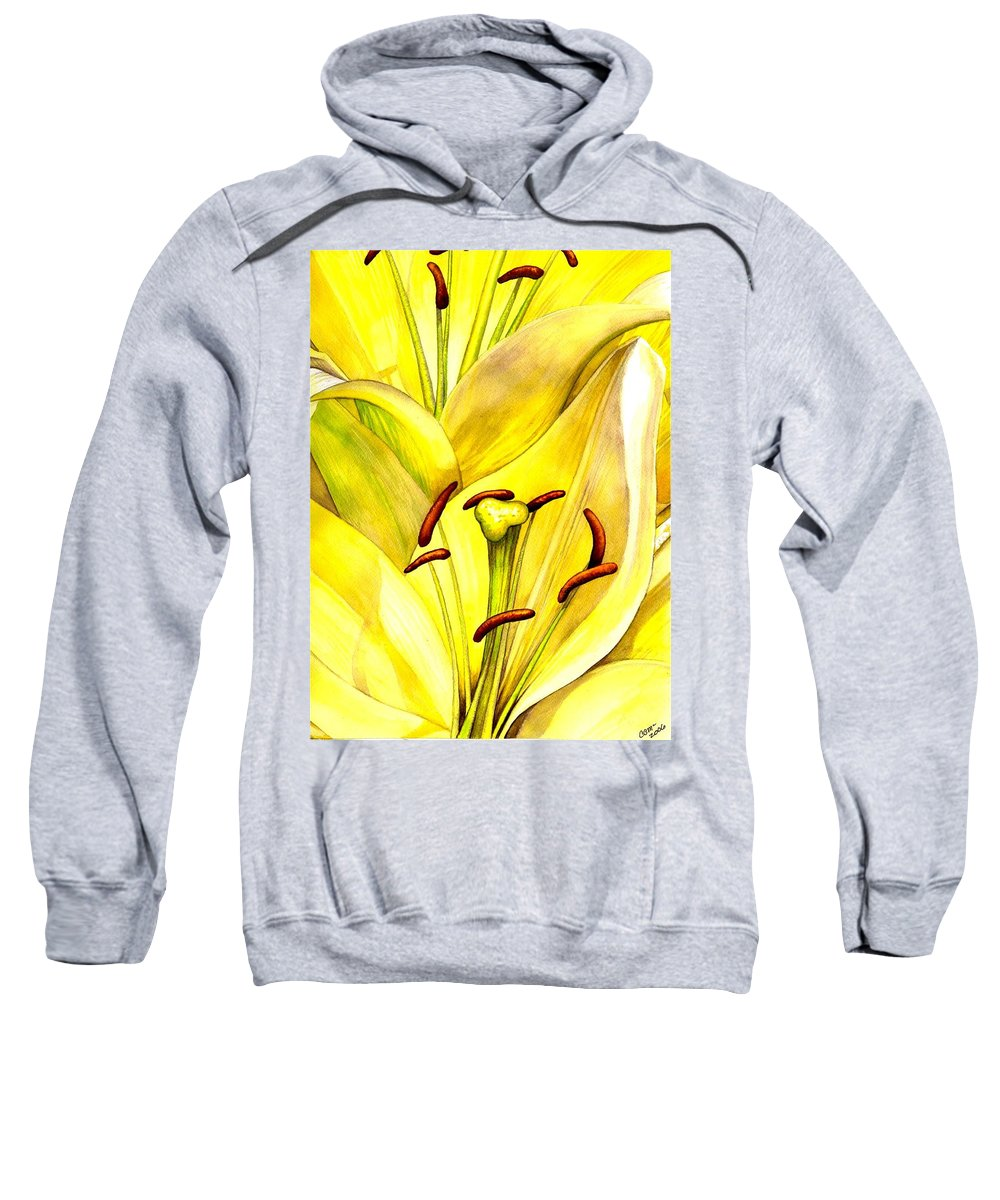 Lily Sweatshirt featuring the painting Daylily by Catherine G McElroy