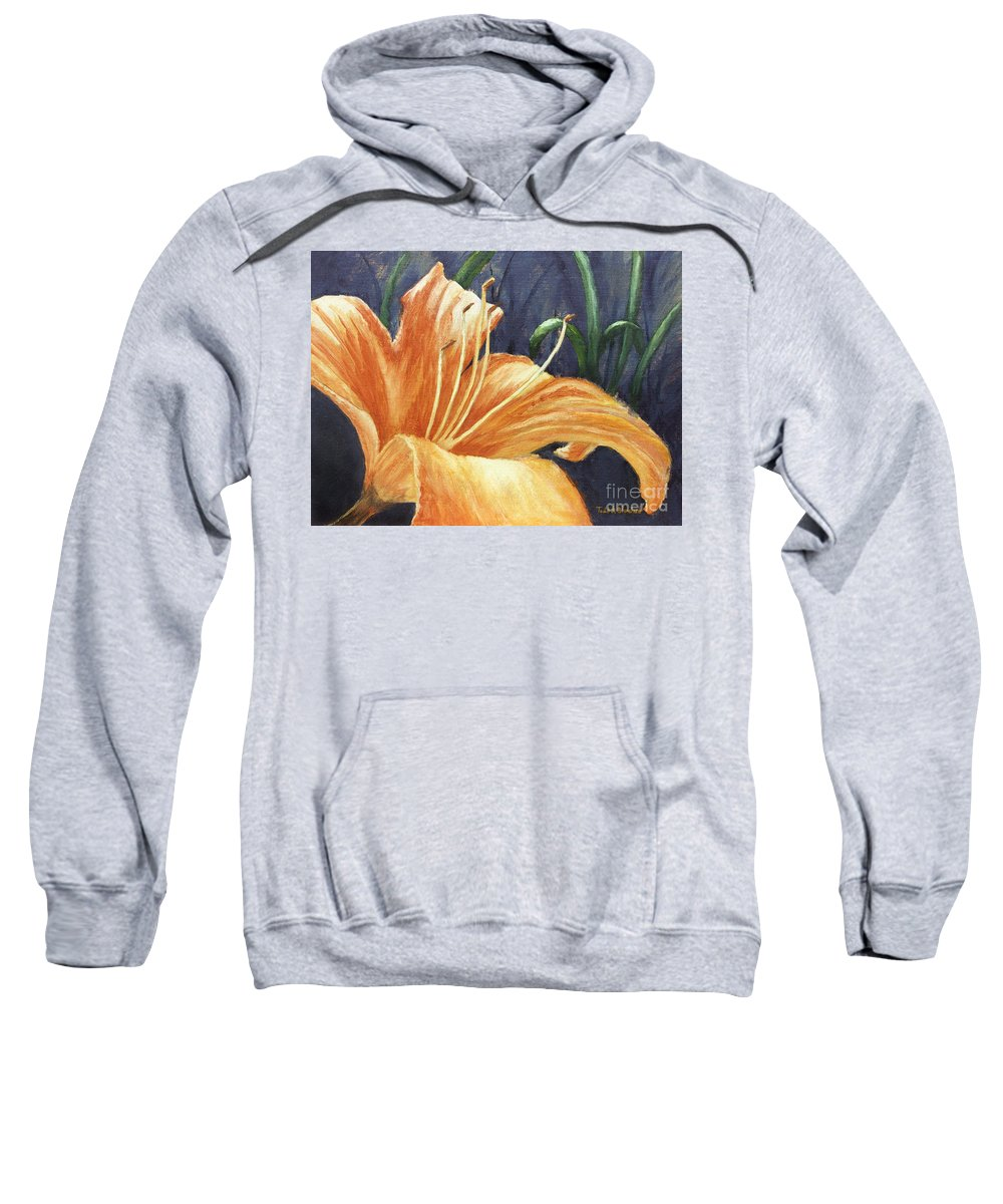 Flower Sweatshirt featuring the painting Daylily by Todd A Blanchard