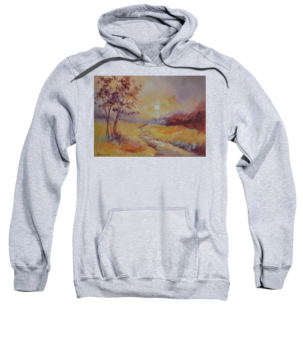Evening Landscape Sweatshirt featuring the painting Day's End by Ginger Concepcion