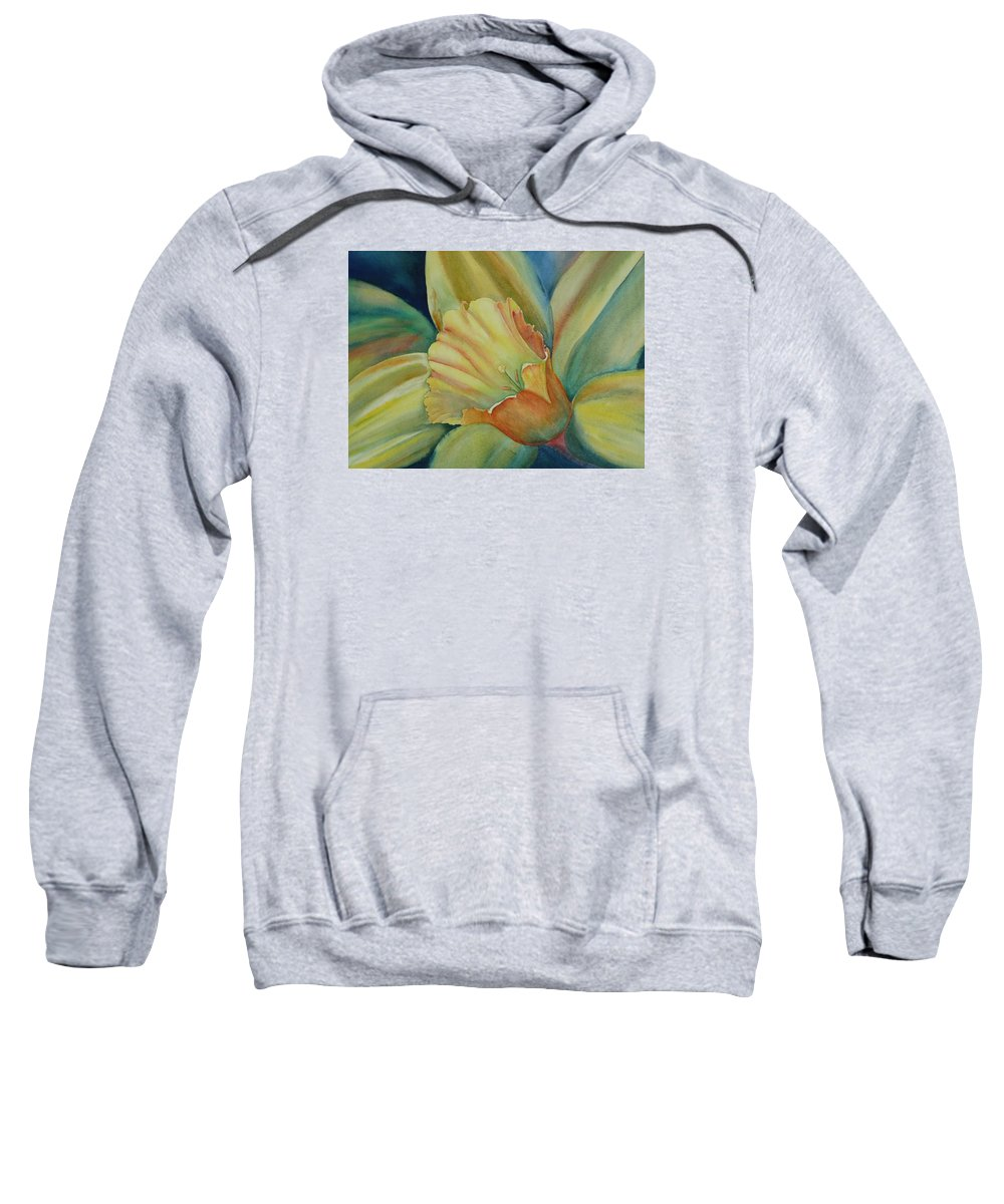 Flower Sweatshirt featuring the painting Dazzling Daffodil by Ruth Kamenev