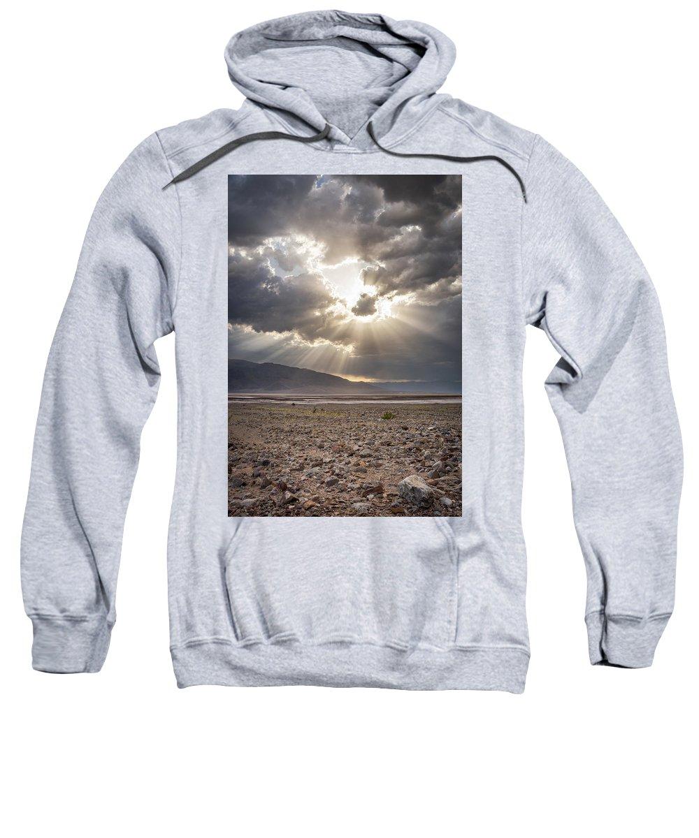 California Sweatshirt featuring the photograph Death Valley Sun Burst by Travis Elder