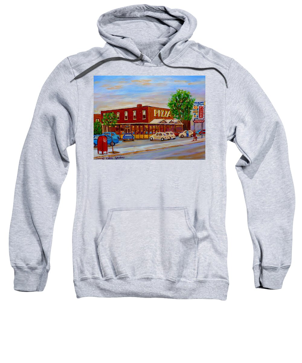 Tasty Food Pizza Sweatshirt featuring the painting Decarie Tasty Food Pizza by Carole Spandau