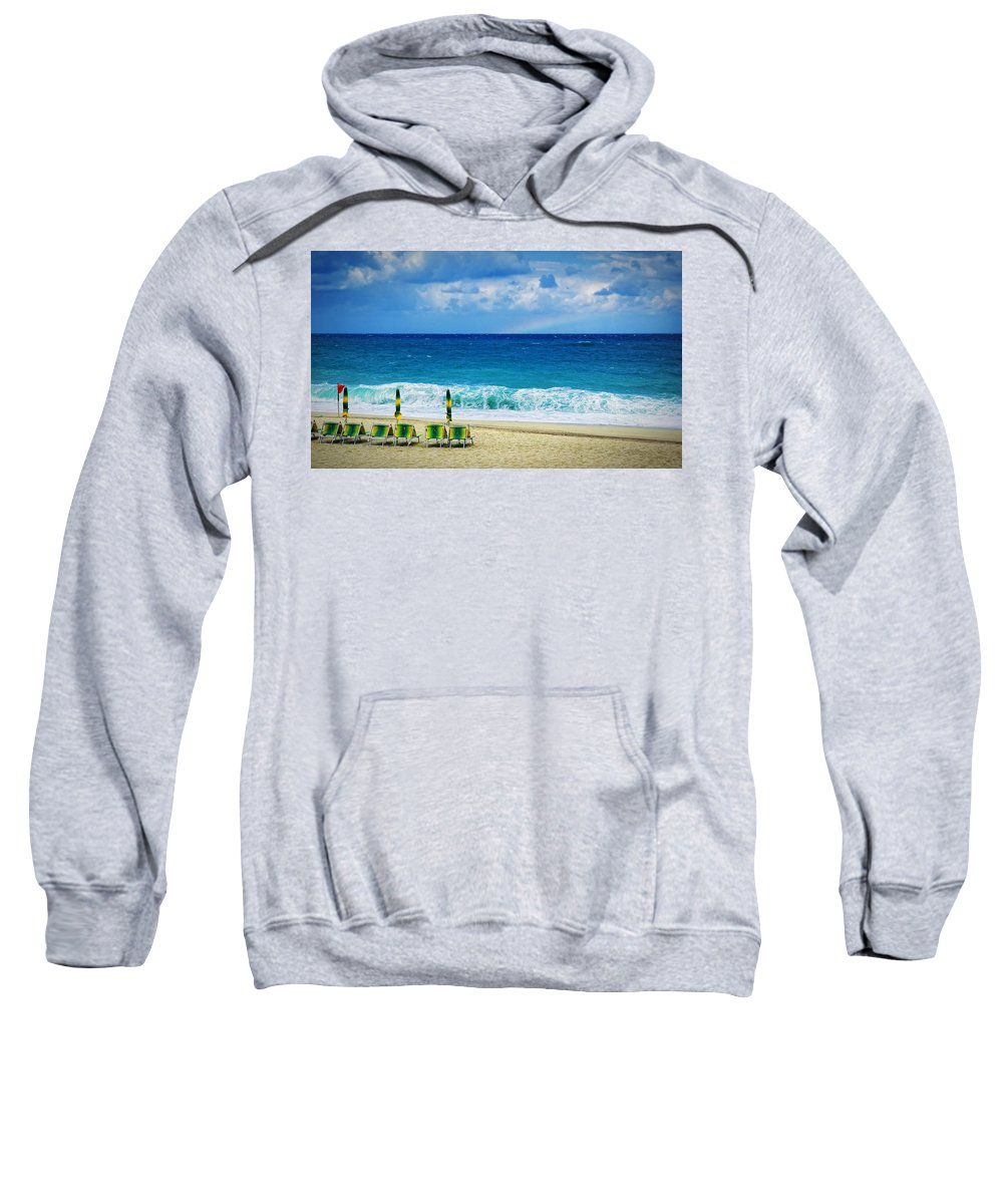 Deck Chairs Sweatshirt featuring the photograph Deck Chairs And Distant Rainbow by Silvia Ganora