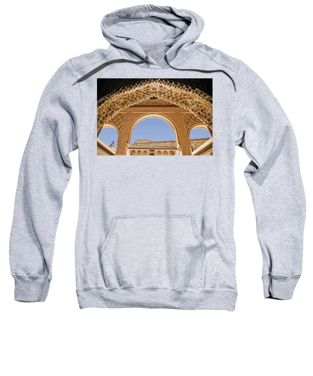 Architecture Sweatshirt featuring the photograph Decorative Moorish Architecture In The Nasrid Palaces At The Alhambra Granada Spain by Mal Bray