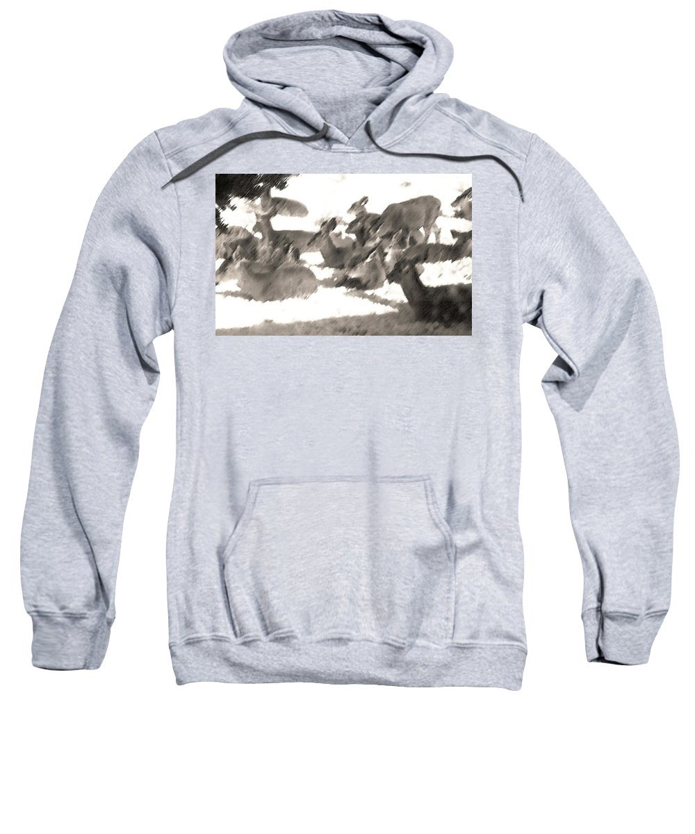 Abstract Sweatshirt featuring the photograph Deer Bedding Down by Lenore Senior