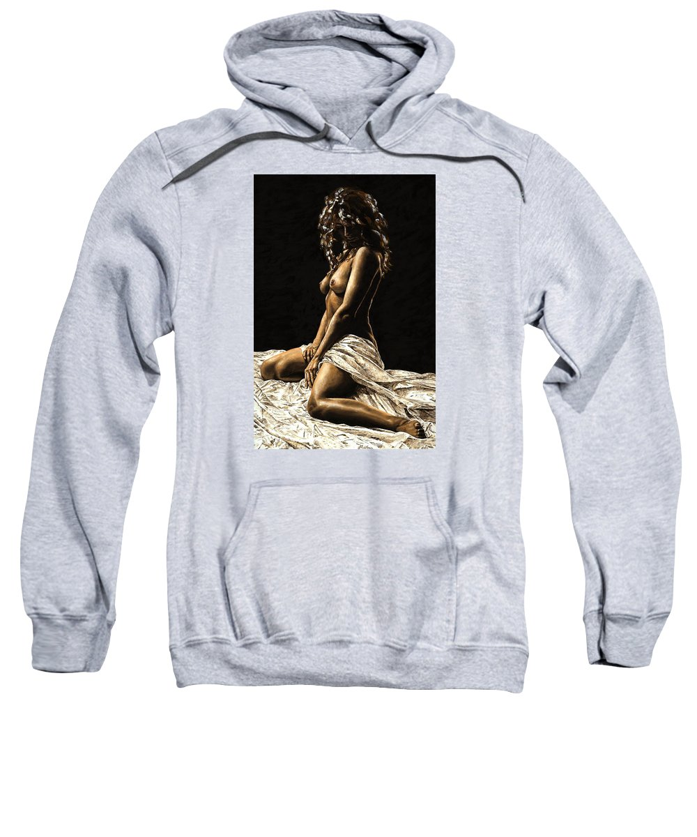 Nude Sweatshirt featuring the painting Defiance by Richard Young