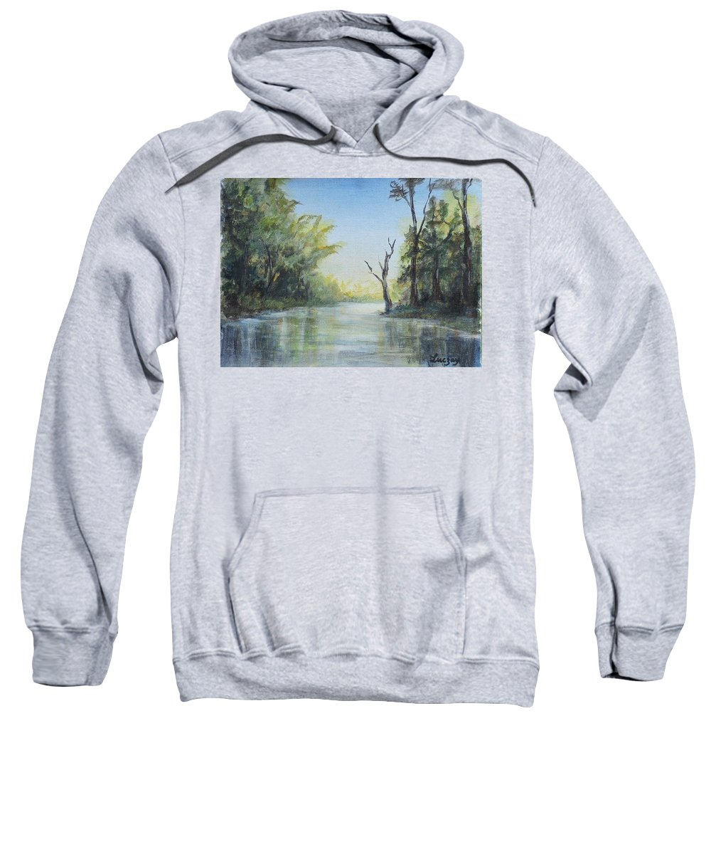 Landscapes Sweatshirt featuring the painting Delaware River by Katalin Luczay