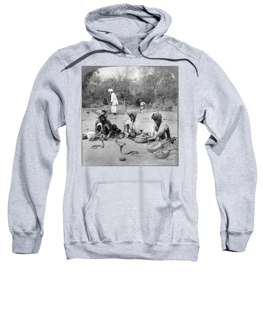1903 Sweatshirt featuring the photograph Delhi: Snake Charmers by Granger
