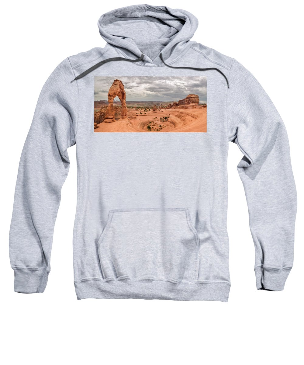 3scape Sweatshirt featuring the photograph Delicate Arch Panoramic by Adam Romanowicz