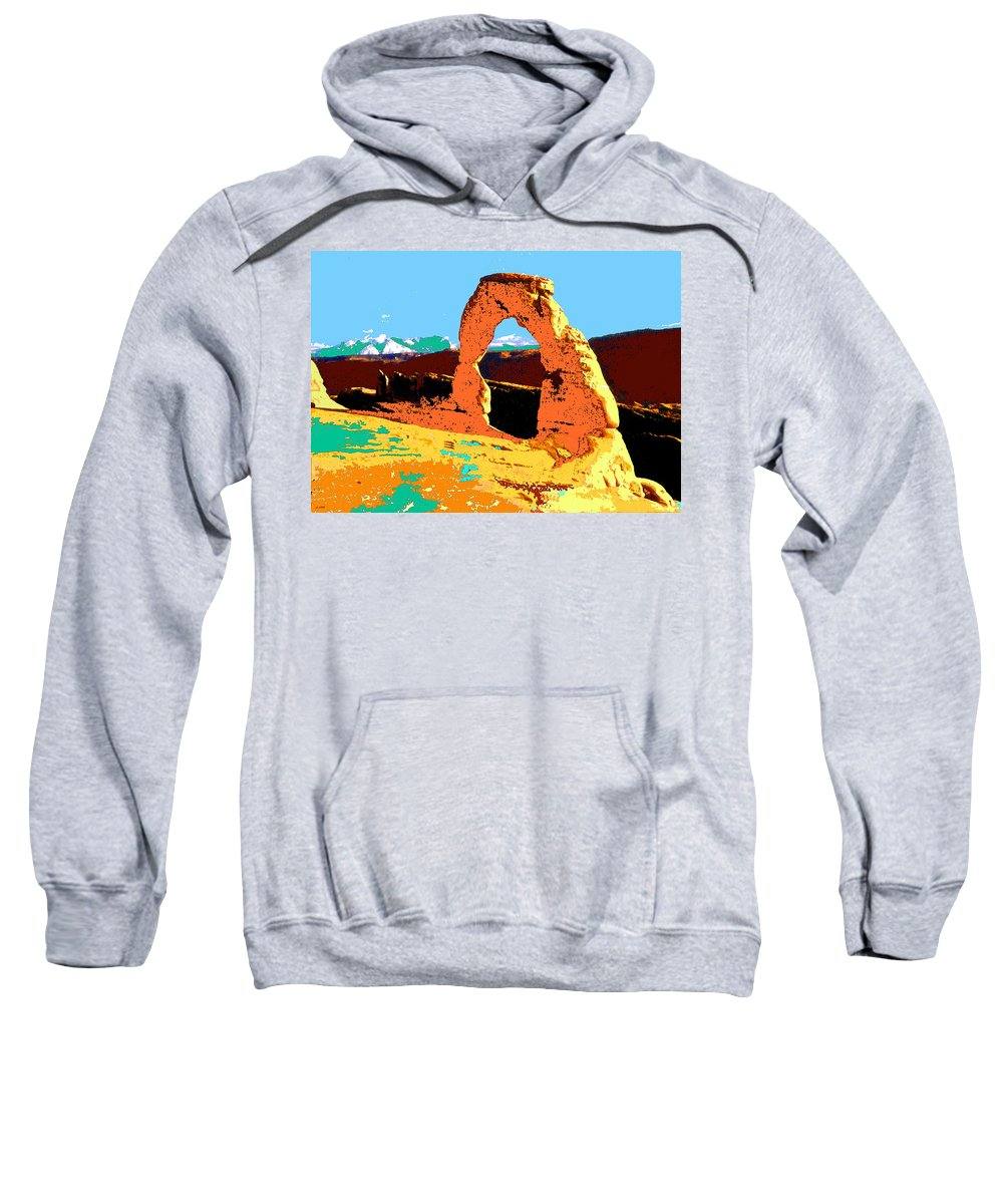 Delicate+arch Sweatshirt featuring the painting Delicate Arch Utah - Pop Art by Peter Potter