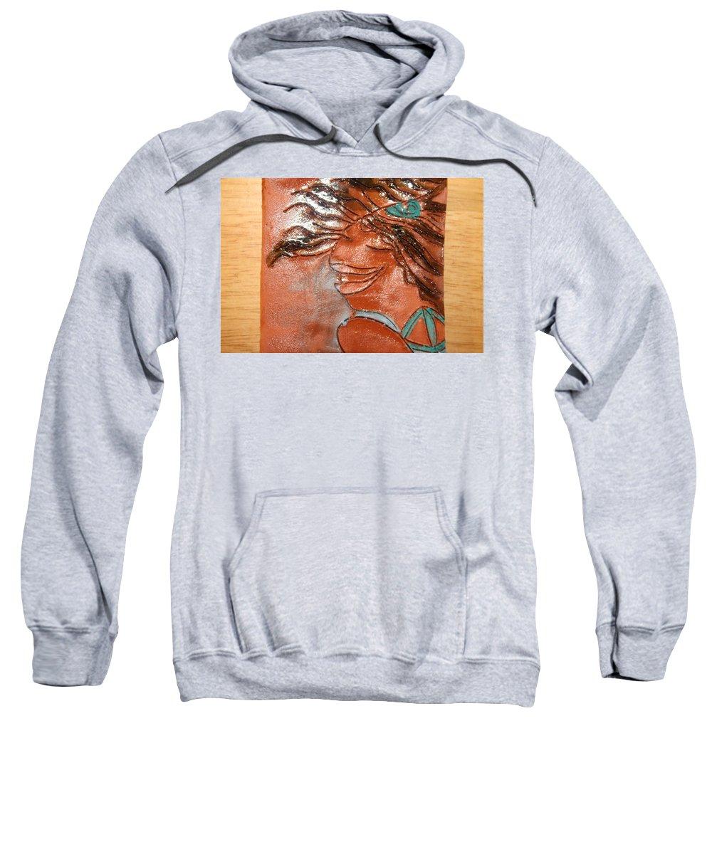 Jesus Sweatshirt featuring the ceramic art Della - Tile by Gloria Ssali