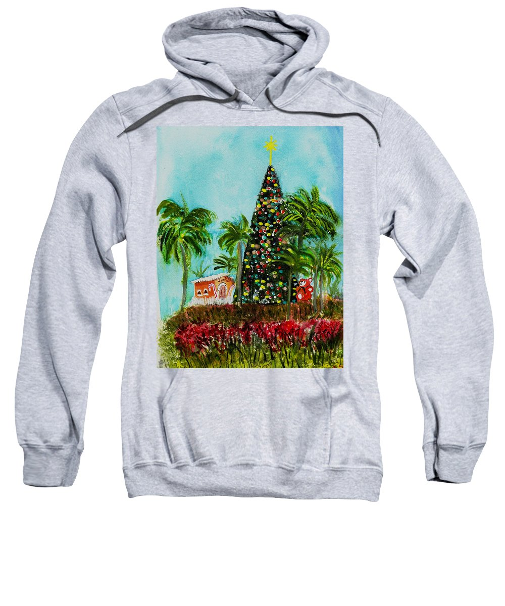 Delray Beach Sweatshirt featuring the painting Delray Beach Christmas Tree by Donna Walsh