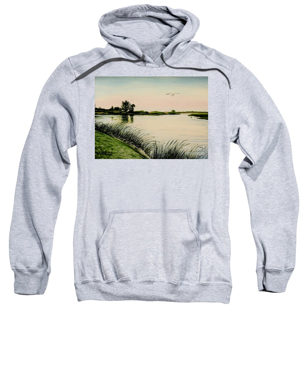 Landscape Sweatshirt featuring the painting Delta At Dusk by Elizabeth Robinette Tyndall