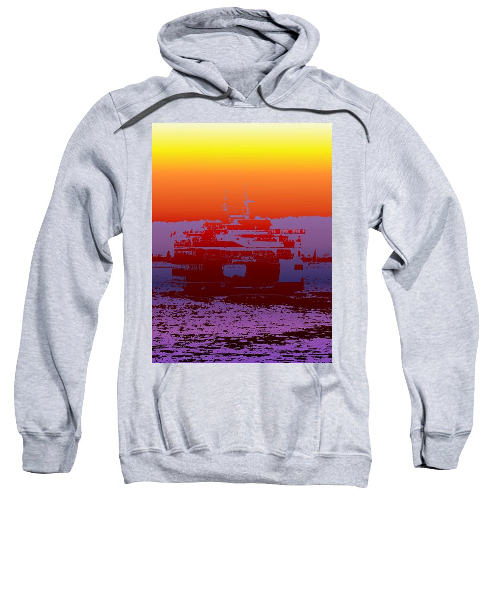 Seattle Sweatshirt featuring the photograph Departing Ferry 2 by Tim Allen
