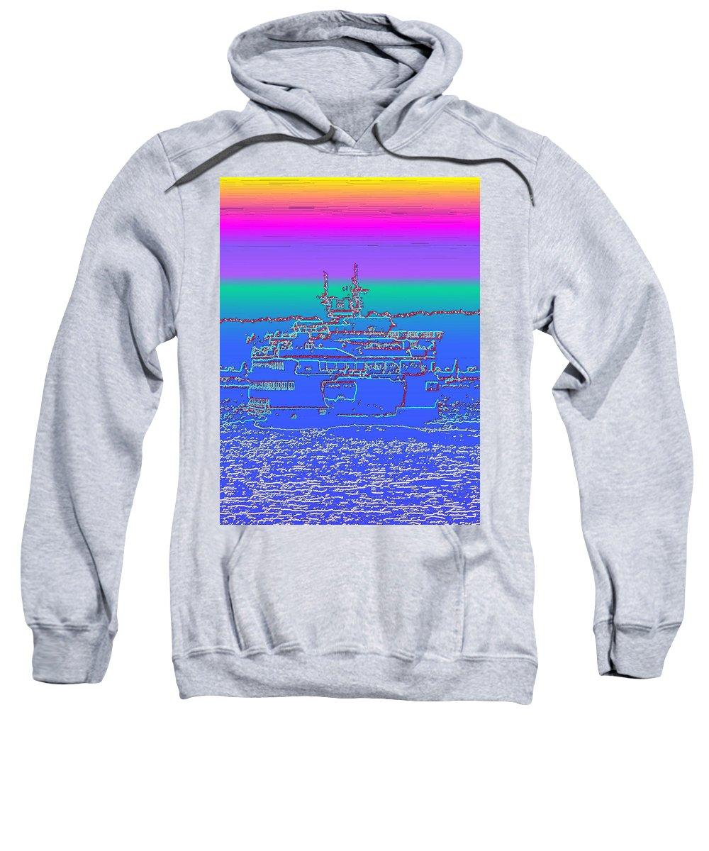 Digital Photo Manipulation Sweatshirt featuring the photograph Departing Ferry by Tim Allen