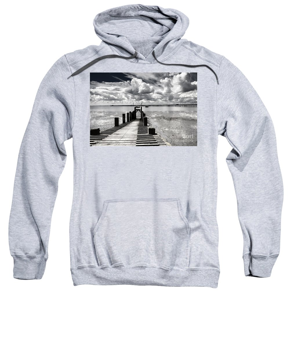 Wharf Southend Essex England Beach Sky Sweatshirt featuring the photograph Derelict Wharf by Sheila Smart Fine Art Photography