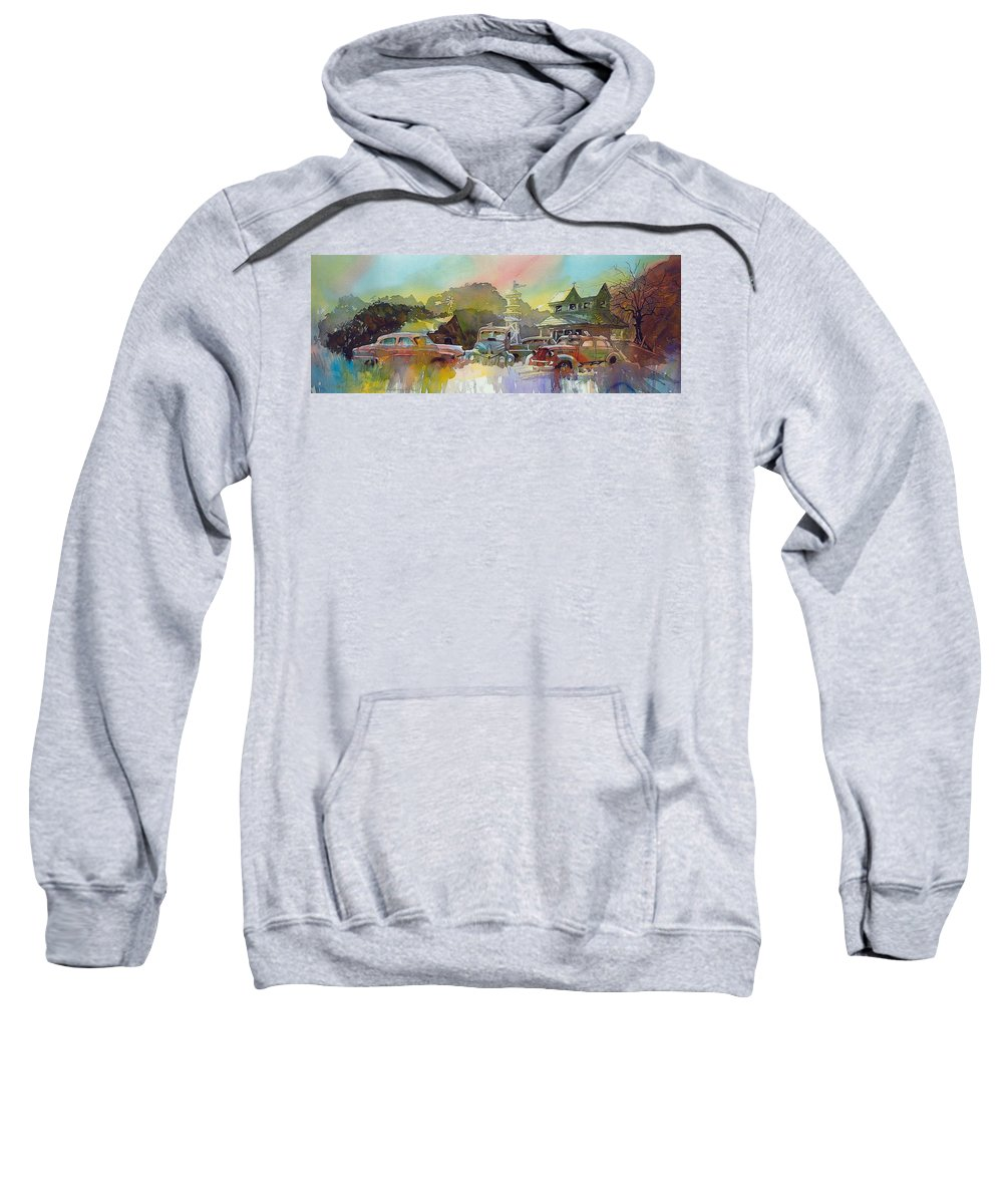 Rusty Old Cars Sweatshirt featuring the painting Derelicts On Duty by Ron Morrison