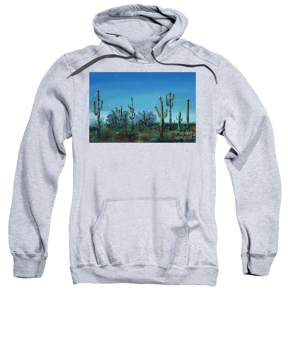 Desert Saguaro Catus In Bloom Sweatshirt featuring the painting Desert Blue by Frances Marino