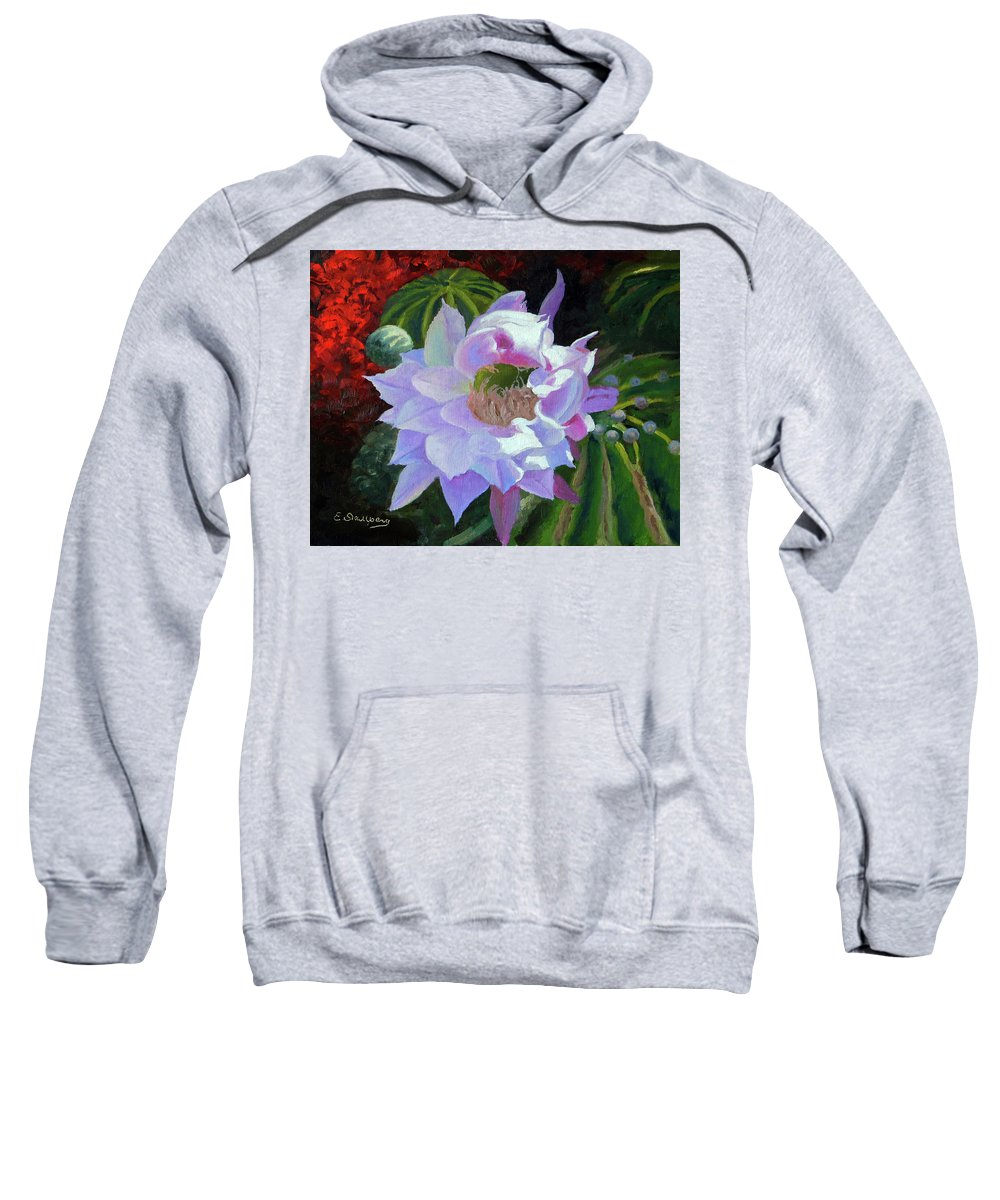 Landscape Sweatshirt featuring the painting Desert Cactus Flower by Edward Skallberg