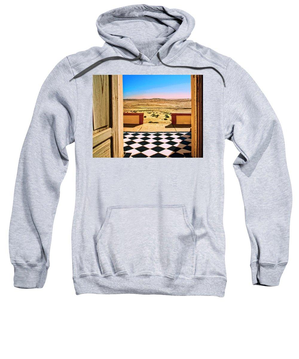 Desert Dreamscape Sweatshirt featuring the mixed media Desert Dreamscape by Dominic Piperata