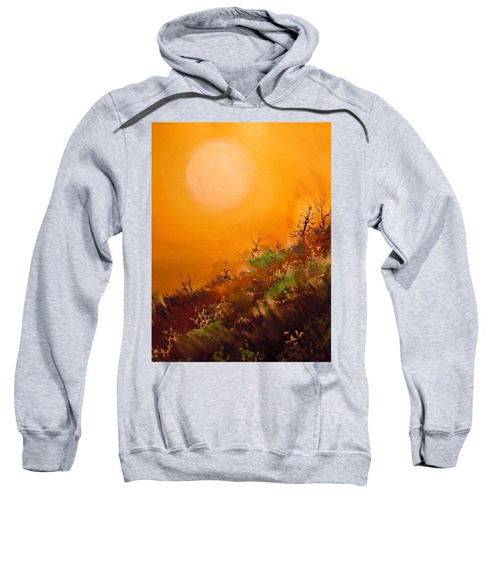 Desert Evening Sweatshirt featuring the painting Hot Desert Evening by Dan Whittemore