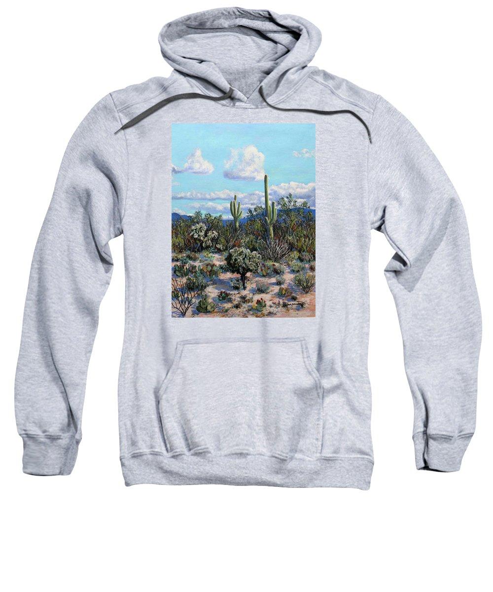 Cactus Sweatshirt featuring the painting Desert Landscape by M Diane Bonaparte