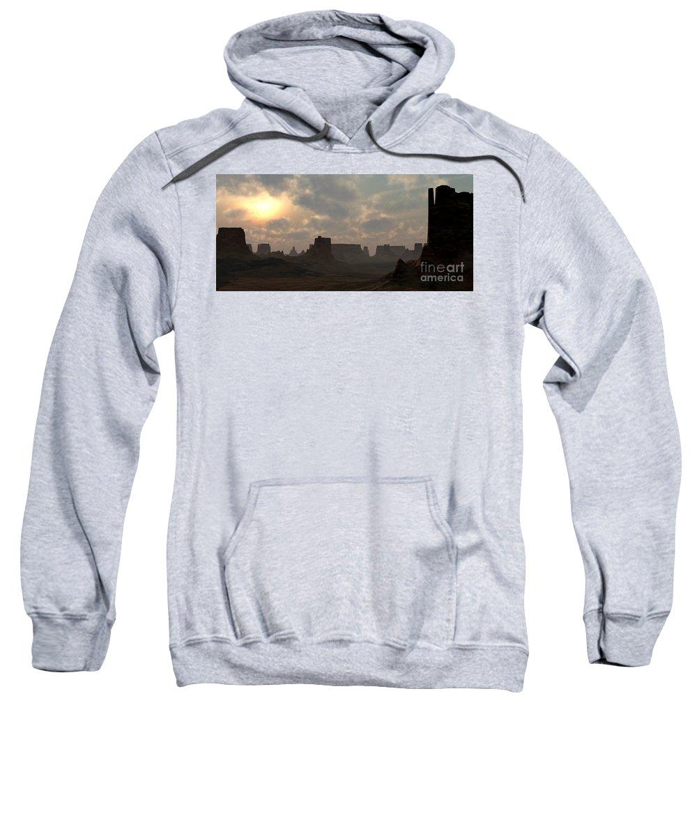 Desert Sweatshirt featuring the digital art Desert Morning by Richard Rizzo