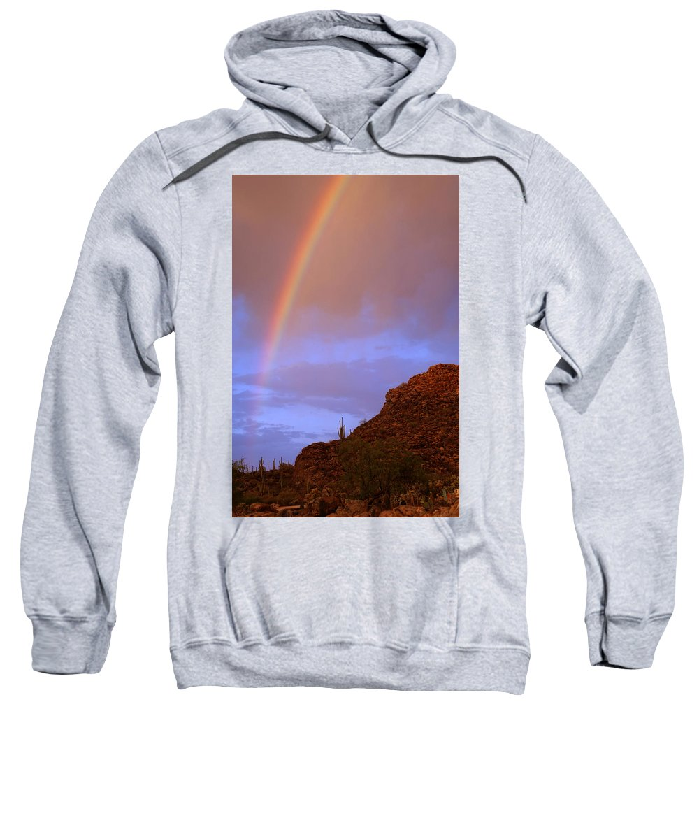 Rainbow Sweatshirt featuring the photograph Desert Rainbow by Jill Reger