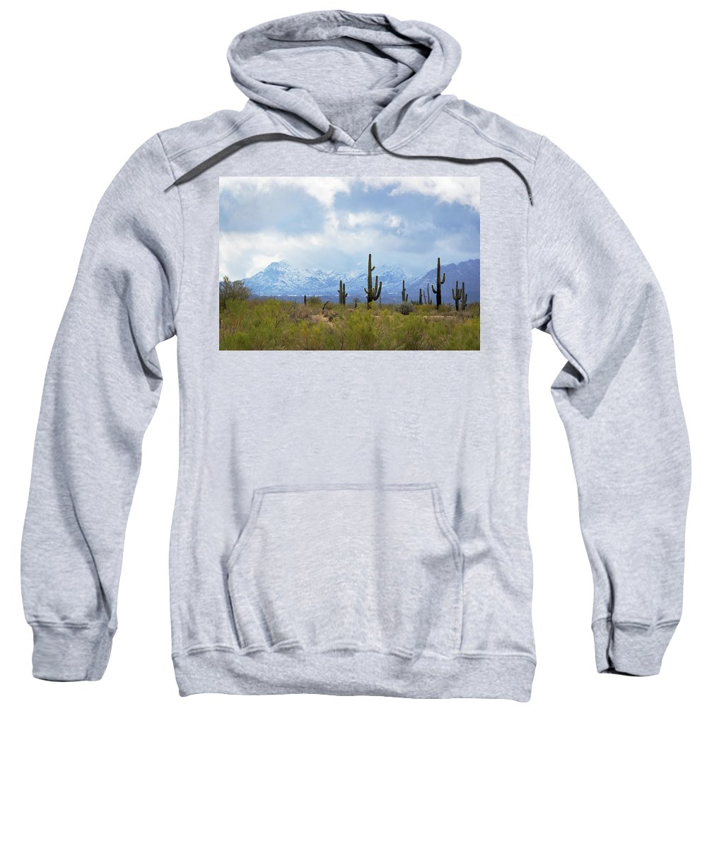 Desert Sweatshirt featuring the photograph Desert Snow by Phyllis Denton