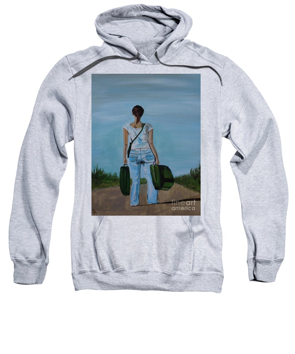 Woman Sweatshirt featuring the painting Destination Unknown by Leslie Allen